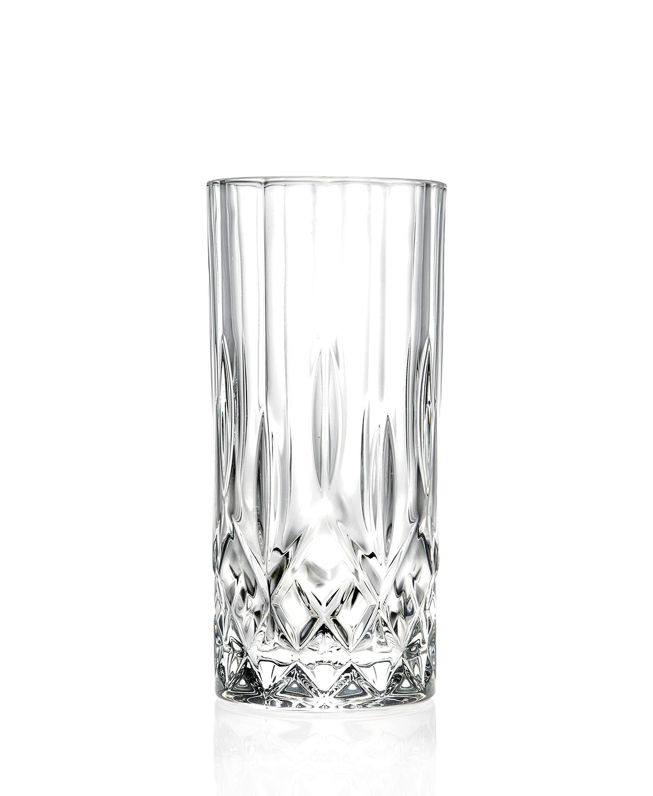 Highball - Glass - Set of 6 - Hiball Glasses - Lead Free Crystal - Beautiful Designed - Drinking Tumblers - for Water, Juice, Wine, Beer and Cocktails - 13 oz. - by Barski - Made in Europe by Barski