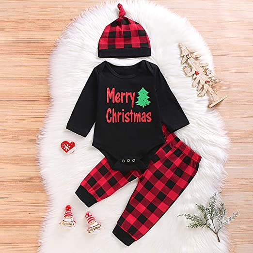 3PCS Baby Boys Girls Merry Christmas Plaid Outfit Set Long Sleeve Romper Pants with Hat