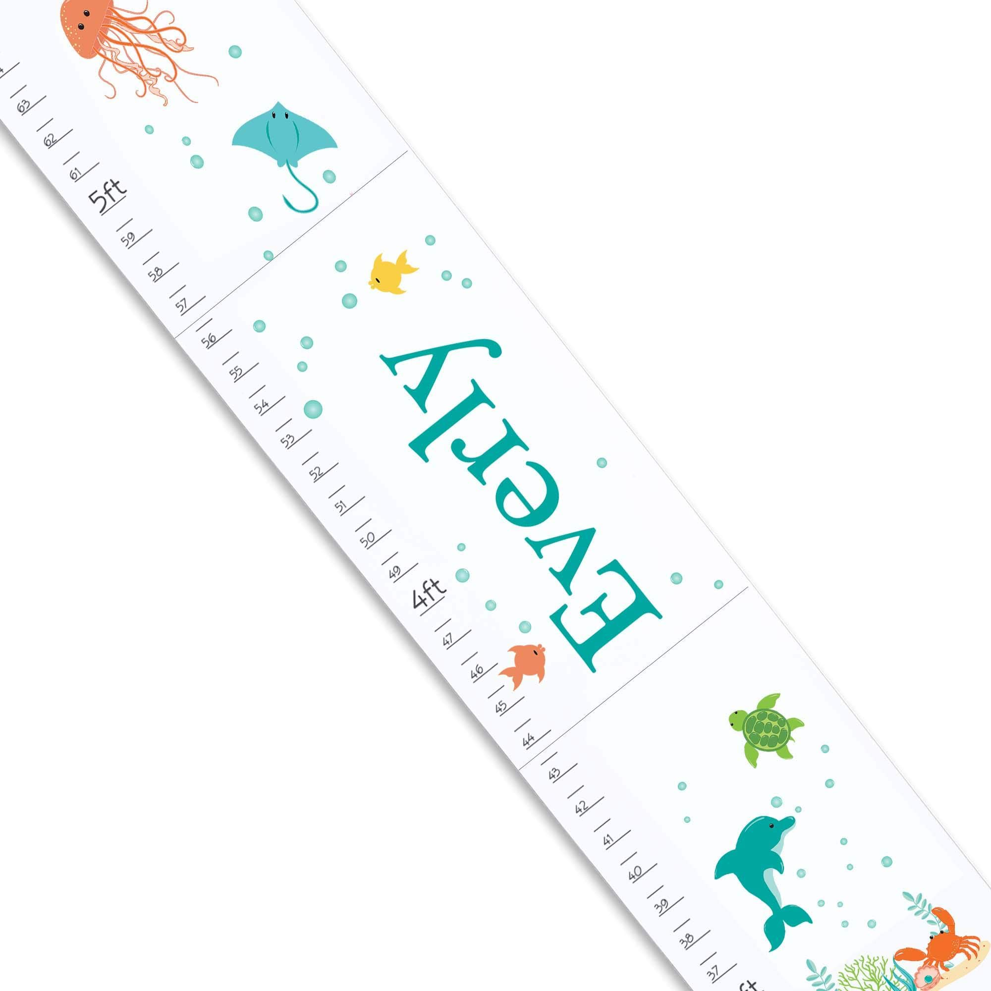 Personalized White Growth Chart with Under The Sea Design by MyBambino