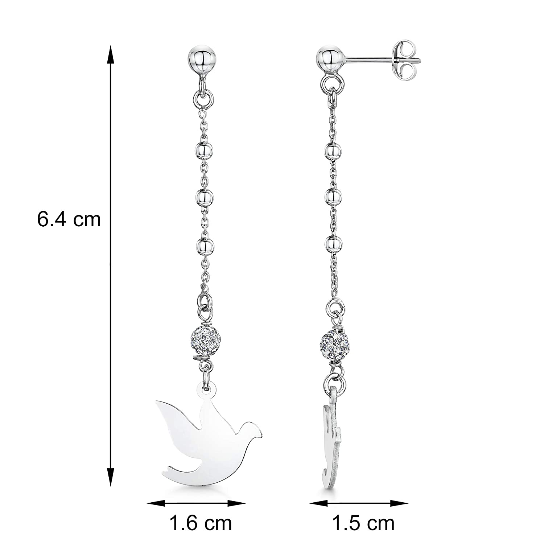 Ear Piercing Ball Chain Shape Style Set Pair of Drop Earrings Amberta Fine 925 Sterling Silver