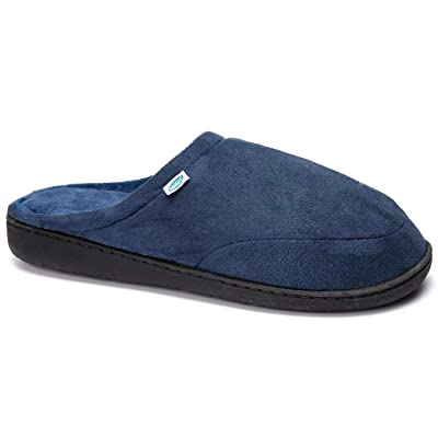 Desirable Time Indoor Slippers Warm Cotton Home Memory Foam Slip-on House Shoes Navy: Clothing