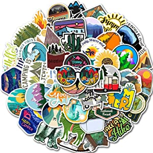 50pcs Outdoor Wild Summer Travel Hiking Camping Stickers Suitcase Trolley Car Skateboard Laptop Adventure Stickers Waterproof Vinyl Stickers