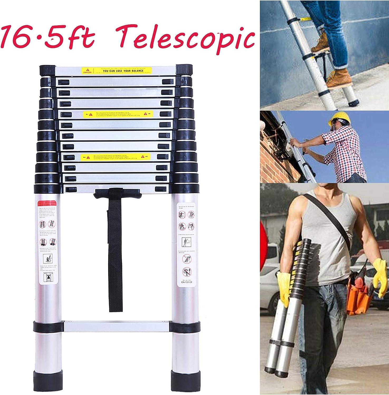 Escalera telescópica de 5 m, escalera plegable, carga máxima: 330 libras, estándar EN131, escalera recta portátil de aluminio: Amazon.es: Bricolaje y herramientas