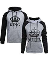 Tomwell King Queen Impression Hoodies Couple Sweatshirt À Capuche Femme Et Homme Manches Longues Pullover Blouse Tops