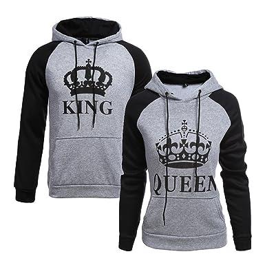 großer Verkauf fa720 3d700 Tomwell King Queen Aufdruck Sweatshirt Pärchenpullover Set Hoodie mit  Kaiserkrone Hoodie Damen Herren Kapuzenpullover mit Tasche