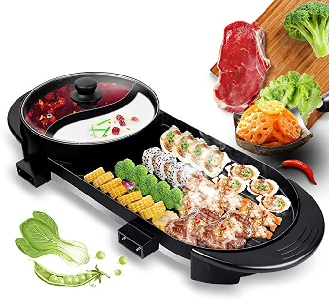 Capacity for 3-8 People Family Gatherings. TOPQSC Smokeless Grill Hot Pot Indoor Teppanyaki Grill//Shabu Pot with Divide Temperature Contral
