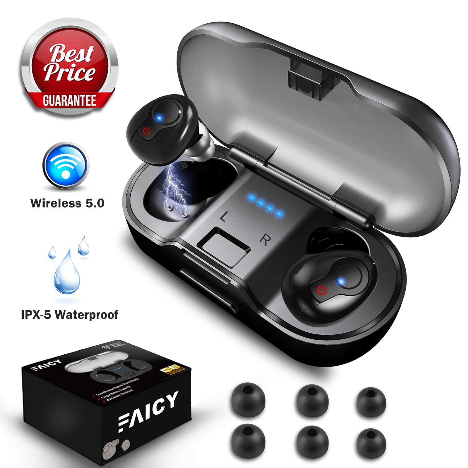 Wireless Earbuds, Faicy True Wireless 5.0 Deep Bass Mini in-Ear Headset HD Stereo IPX5 Headphones with Built-in Mic, 24Hr Play Time with 480mAH Battery Charging Case