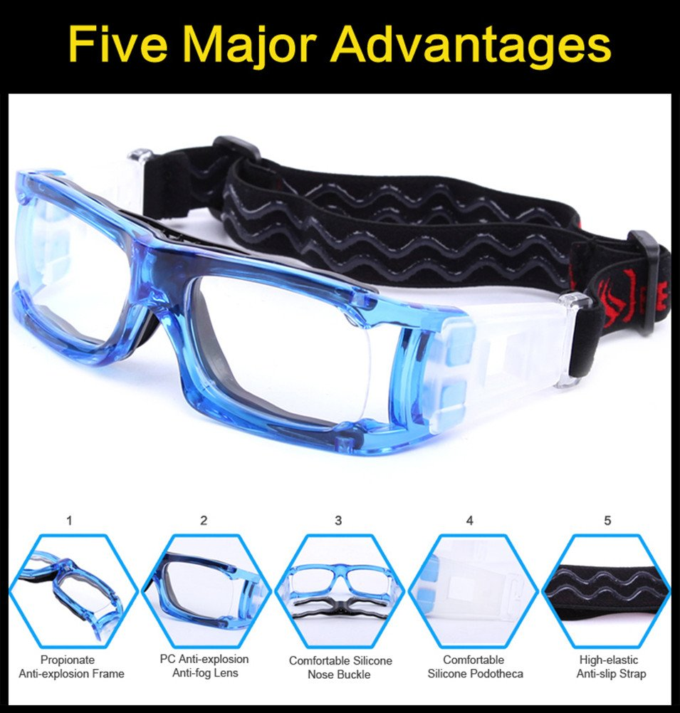 Kagogo Sports Goggles Protective Basketball Glasses Safety Goggles for Adults with Adjustable Strap for Basketball Football Volleyball Hockey Rugby (Transparent Blue006) by Kagogo (Image #3)