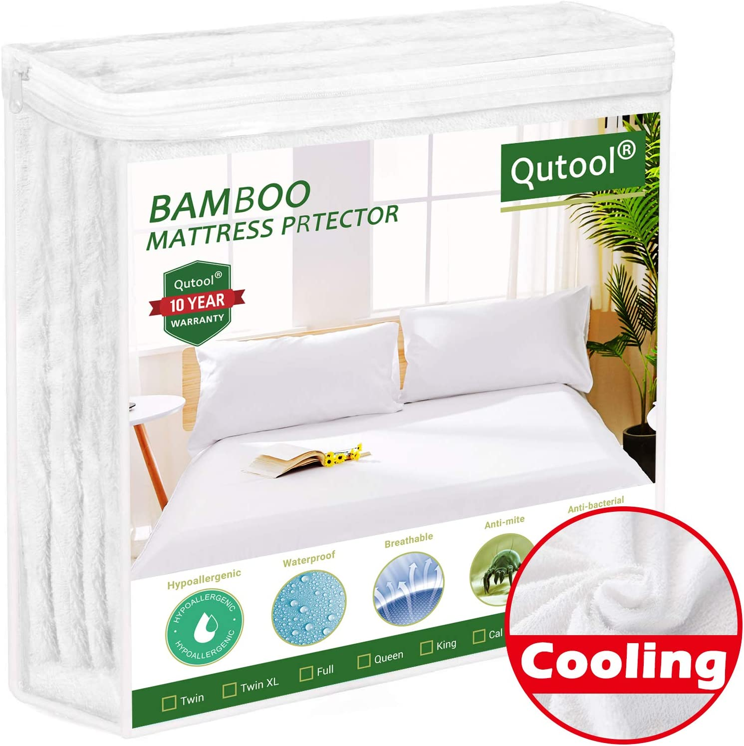 "Bedbug Mattress Protector King Size 100% Waterproof Bamboo Mattress Protector Cooing Mattress Pad Cover Fitted 8""-21"" Deep Pocket - Bed Sheet Cover, Hypoallergenic, Breathable, Noiseless, Vinyl Free"