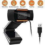 1080P HD Cámara Web, MTQ Webcam de Conferencia USB Ajustable con Micrófono Incoprado para Videollamadas Computadora…