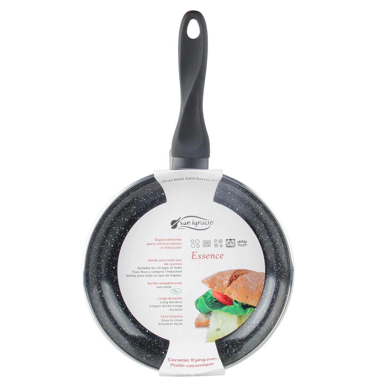 San Ignacio SARTEN 24cm Soft Touch Black Essence, Aluminio, Negro mármol, 24x11x7 cm