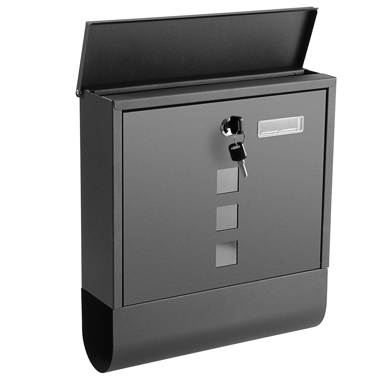 Briefkasten Edelstahl mit Gro/ßem Zeitungsfach Sichtfenstern Namensschild abschlie/ßbar 2 Schl/üssel Silber
