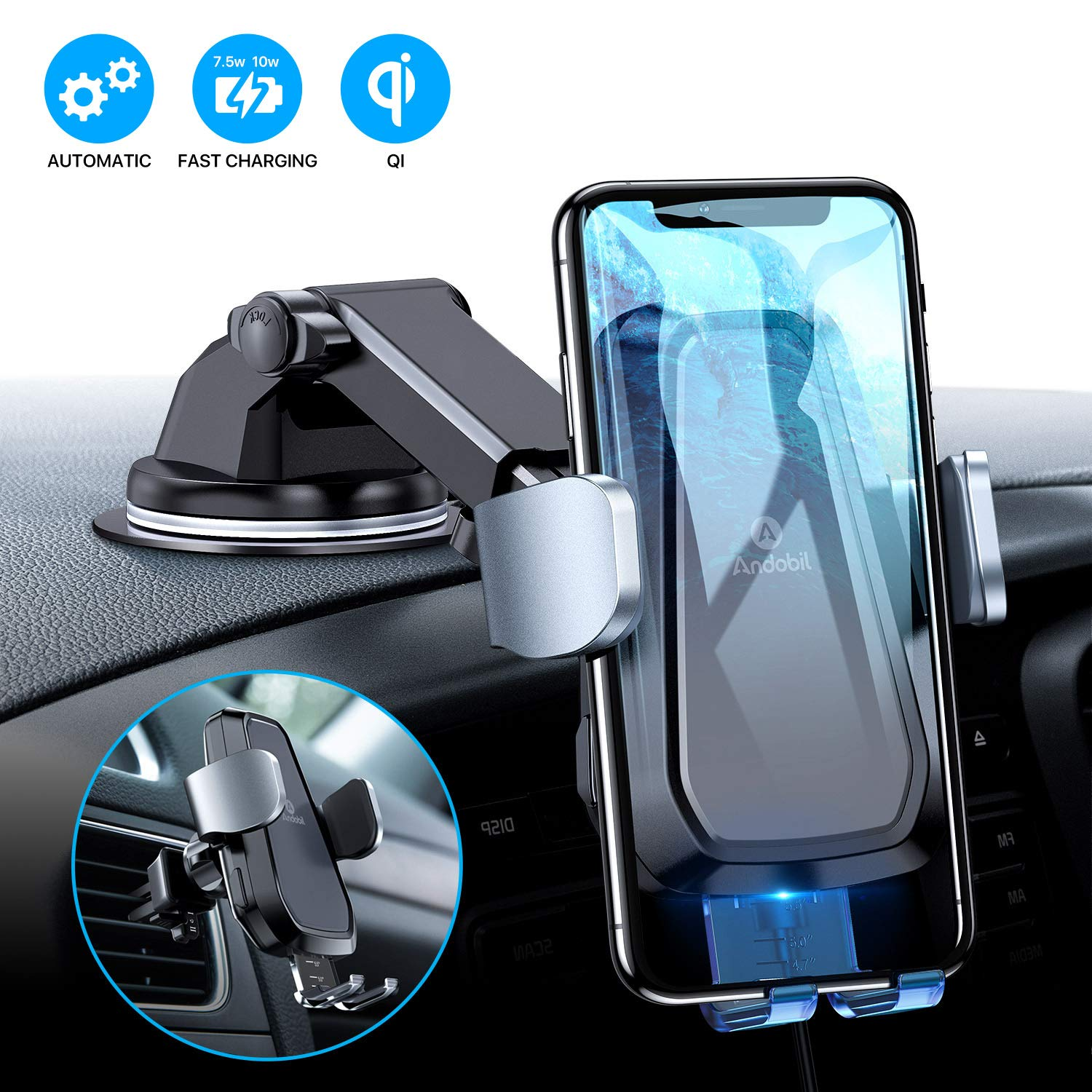 Andobil Wireless Car Charger Mount, 2019 Futuristic Upgrade Fast Auto-Clamping Qi-Certified for Car Cradle Compatible iPhone 11/11 Pro/ 11 Pro Max/Xs/Xr/X/8/8+, Samsung S10/S10+/S10e/S9 by andobil