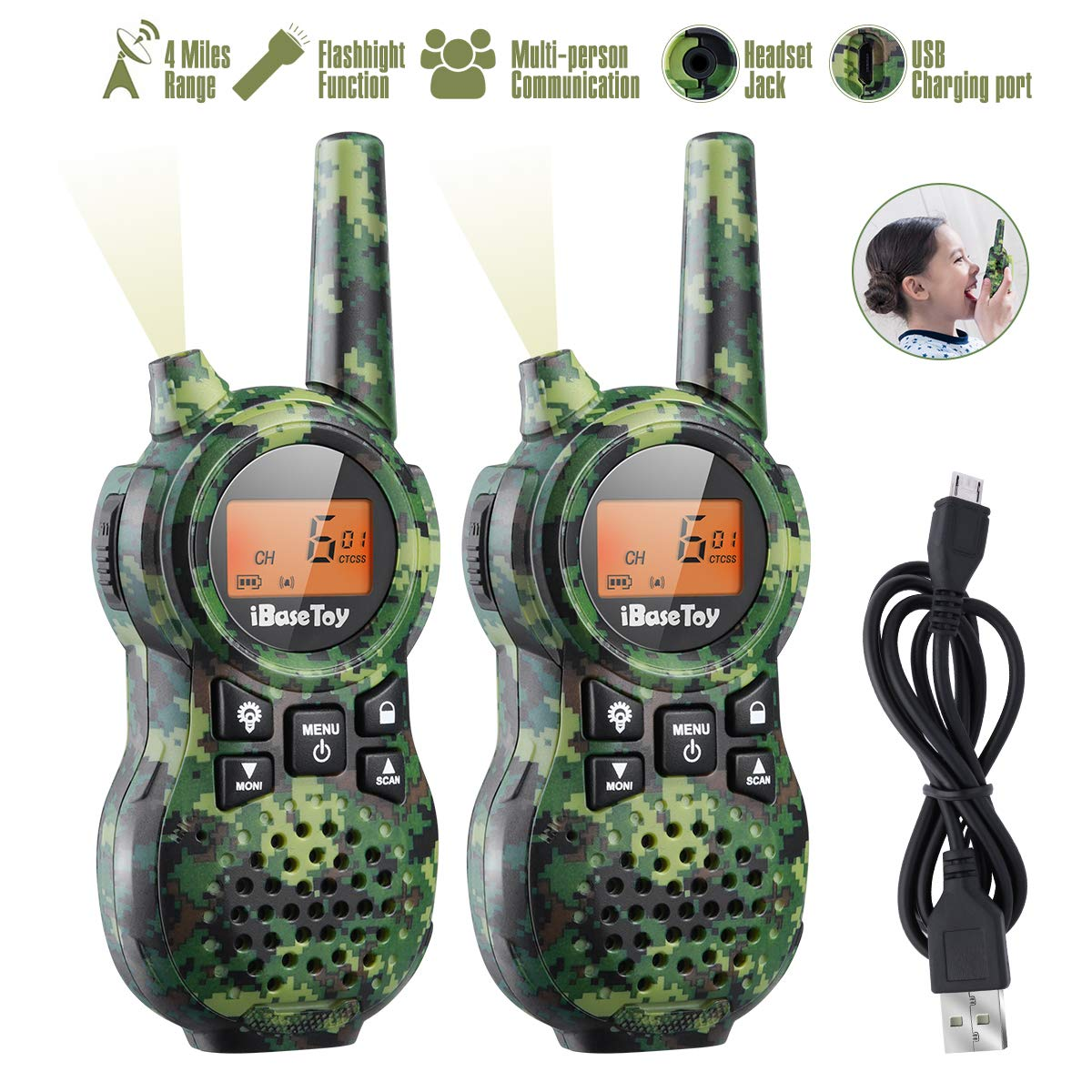 iBaseToy Walkie Talkies for Kids, Rechargeable Walkie Talkies with 22 Channels, 4-Miles Range Radio with Flashlight, LCD Screen and Charging line for Outdoor Adventures, Camping, Hiking - 2 Pack by iBaseToy (Image #1)