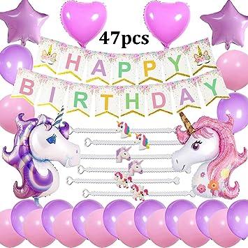 Suministros Fiesta cumpleaños Unicornio Decoraciones, Happy Birthday Bandera, 2 enormes Unicornio, 6 Pulseras, 2 Globos de corazón y 2 Estrellas, 20 ...