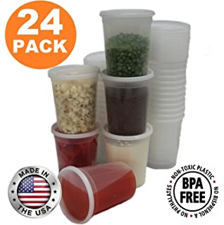 Food Storage Containers With Lids, Round Plastic Deli Cups, US Made, 32 Oz