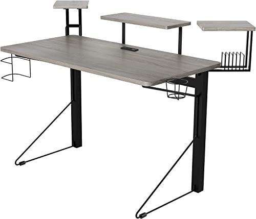 DAR CORE Computer Gaming Desk, Standard, Gray Black