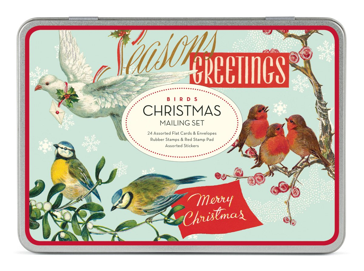 Amazon.com: Cavallini Christmas Birds Mailing Sets, 24 Assorted ...