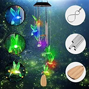 DYHOME Solar Hummingbird Wind Chimes for Outside - Changing Colors Waterproof Wind Chimes Outdoor Hummingbird Solar Lights Gifts for Women Mom.
