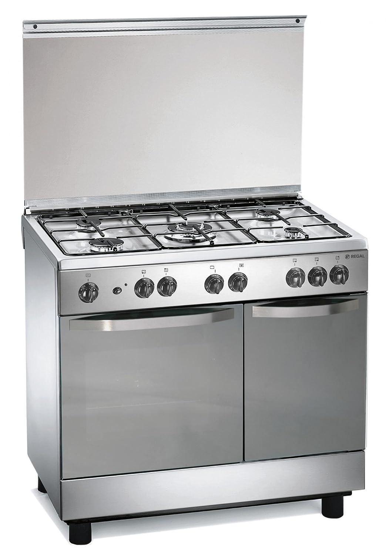 cucina a gas 90x60x85 cm inox 5 fuochi con forno elettrico regal rc7965ex amazonit casa e cucina
