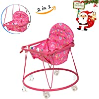 BAYBEE Baby Boy and Girl 2 in 1 Round Metal Walker and Hanging Chair (Pink, 6-12 Months)