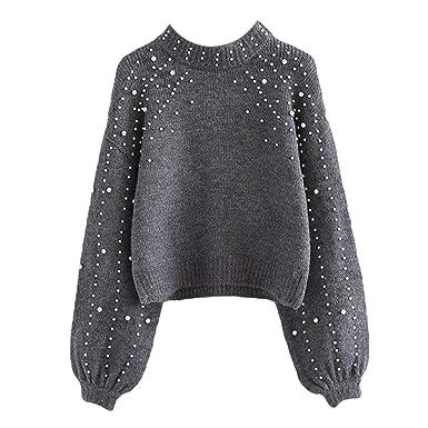 3131f50d6550 Rundhals Sweatshirt für Damen Frauen Mode Einfarbig Sweater mit Perlen  Verziert Loose Lange Ärmel Strickpullover Jumper