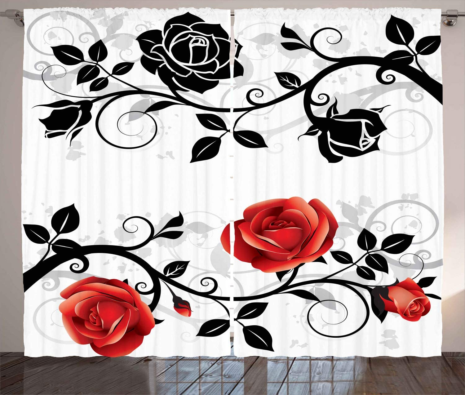 "Ambesonne English Garden Curtains, Abstract Backdrop Floral Rose Swirls Ivy with Leaves Spring, Living Room Bedroom Window Drapes 2 Panel Set, 108"" X 84"", Vermilion Grey"