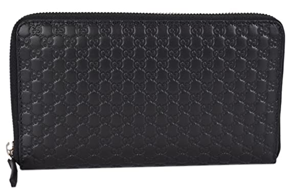 31dd8850d9e Gucci XL Micro GG Guccissima Black Leather Zip Around Travel Wallet   Amazon.co.uk  Clothing