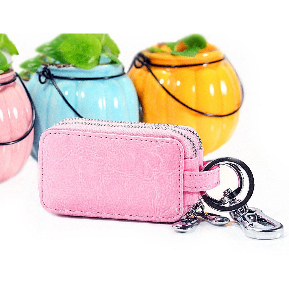 BaouBow Car Key Case Genuine Leather Double Zipper Key Chain Holder Case Wallet Mens