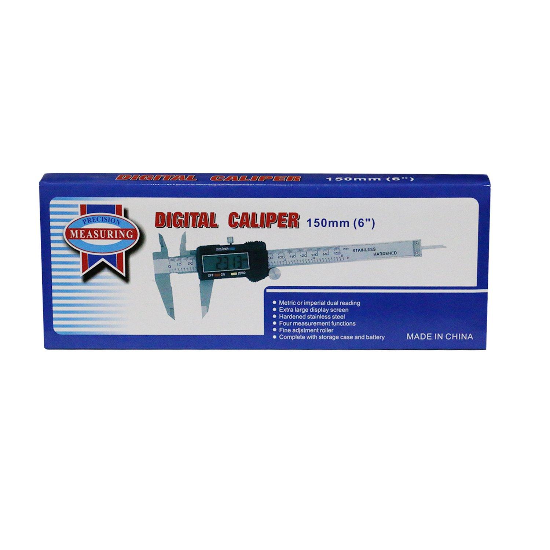OKPOW Pied /à coulisse num/érique /à vernier Mesures imp/ériales ou m/étriques 0 /à 150 mm Acier inoxydable avec /écran LCD