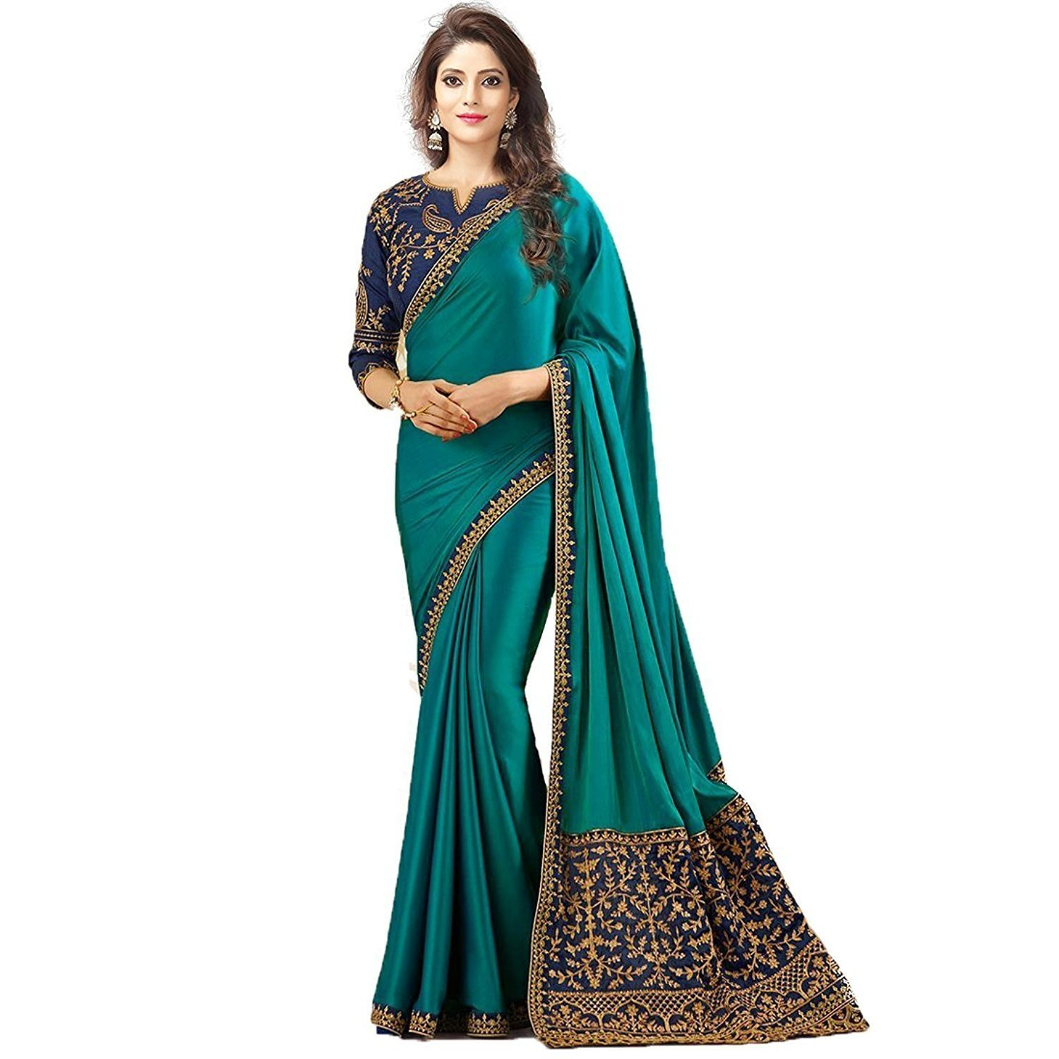 Bigben Embroidery Silk Saree With Embroidery Blouse Pieces