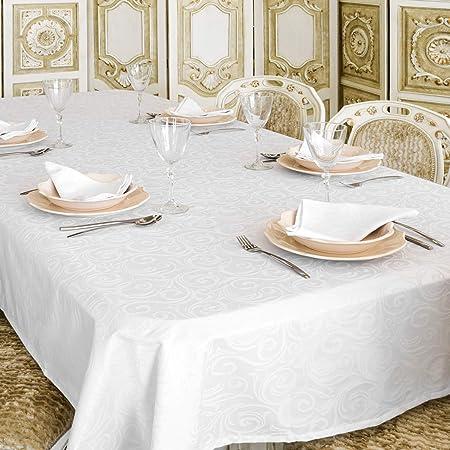 Lyon - Mantel, tratamiento antimanchas, color blanco, poliéster Poliéster. 80 % algodón. algodón, Blanco, 59 x 157