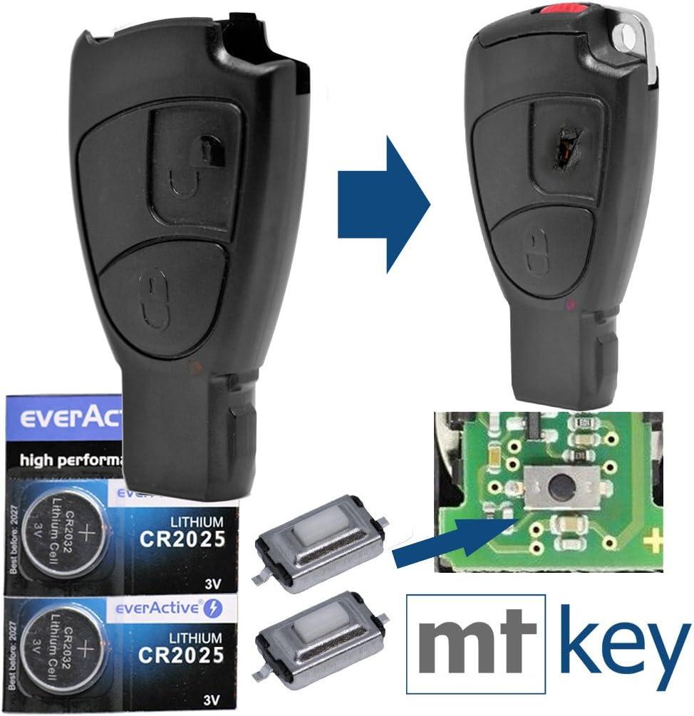 Support 2/piles CR2025/Batterie pour Mercedes Benz not Cl/é standard Cl/és de Voiture SmartKey T/él/écommande Set /émetteur 3/boutons Bo/îtier