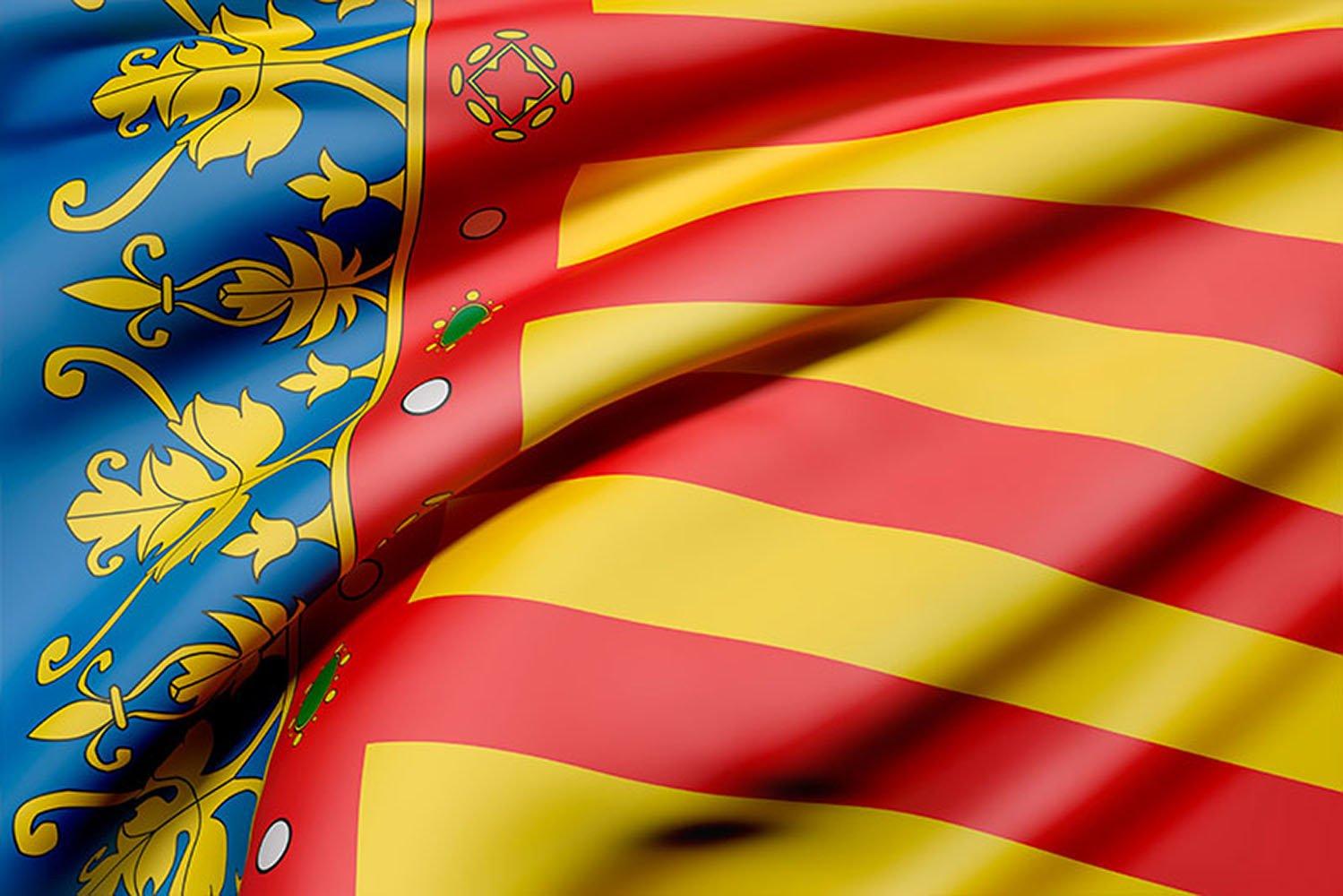 Bandera de La Comunidad Valenciana 85x150cm | Reforzada y con Pespuntes| Bandera de La Comunidad Valenciana Con 2 ojales Metá licos Oedim