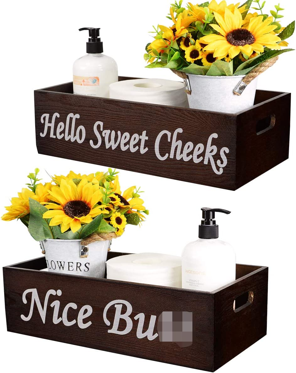 Set of 2 Rustic Bathroom Decor Box Wooden Toilet Paper Storage with Funny Sayings Wood Farmhouse Decor Toilet Paper Box Basket Bathroom Decorations with 2 Artificial Flower & 2 Plastic Pump Bottles