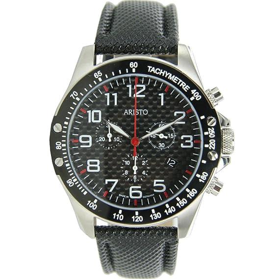 El aristócrata 45 mm estilo aviador cronógrafo de cuarzo de reloj con esfera de fibra de