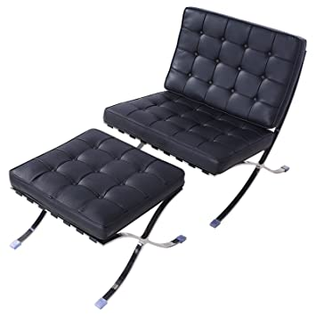 Prime Amazon Com Mecor Mid Century Real Leather Barcelona Style Evergreenethics Interior Chair Design Evergreenethicsorg