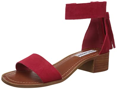 Steve Madden Women's Darcie Red Leather Fashion Sandals - 4 UK/India (36.5  EU