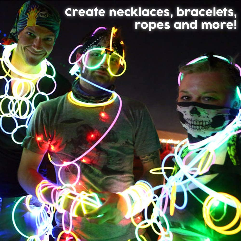 Light Sticks Neon Party Glow Necklaces and Glow Bracelets Glow in The Dark Party Supplies Lumistick 8 Inch 100 Glow Sticks Bulk Party Favors with Connectors White, 100 Glow Sticks