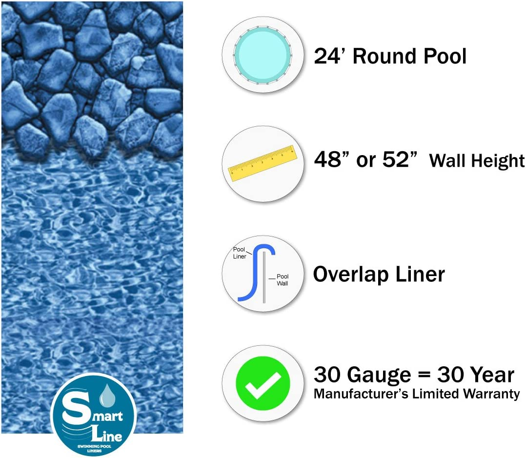 Designed for Steel Sided Above-Ground Swimming Pools 20 Gauge Virgin Vinyl Smartline Swirl Tile 24-Foot Round Liner Overlap Style 48-or-52-Inch Wall Height