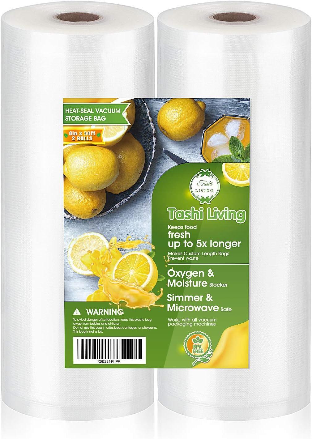 "TashiLiving 8"" x 50' - 2 Rolls Vacuum sealer Bags for Food Saver, 4mil BPA-Free, Freezer, Sous Vide bags"