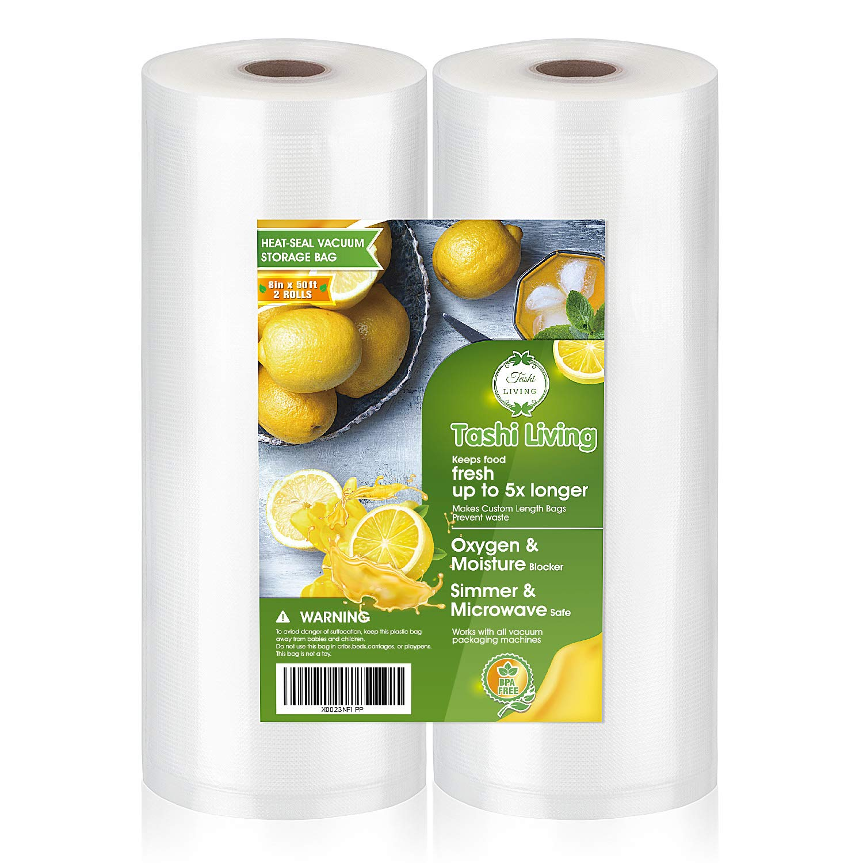 TashiLiving 8'' x 50' - 2 Rolls Vacuum sealer Bags for Food Saver, 4mil BPA-Free, Freezer, Sous Vide bags by TashiLiving
