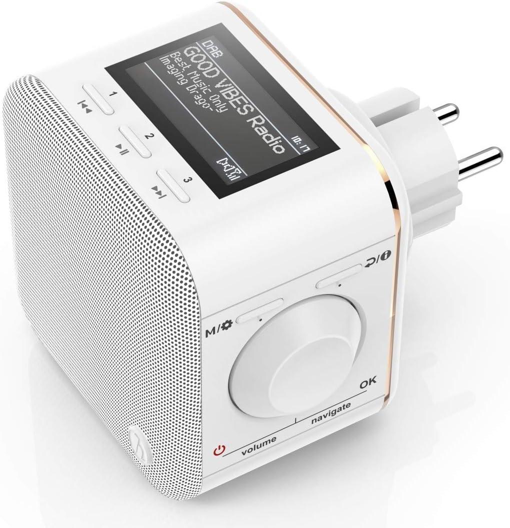 Hama DR18BT-PlugIn Portátil Analógico y Digital Blanco - Radio (Portátil,  Analógico y Digital, Dab,Dab+,FM, LCD, USB Type-A, Blanco)