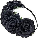 IETANG Women's Hawaiian Stretch Rose Flower Headband Floral Crown for Garland Party