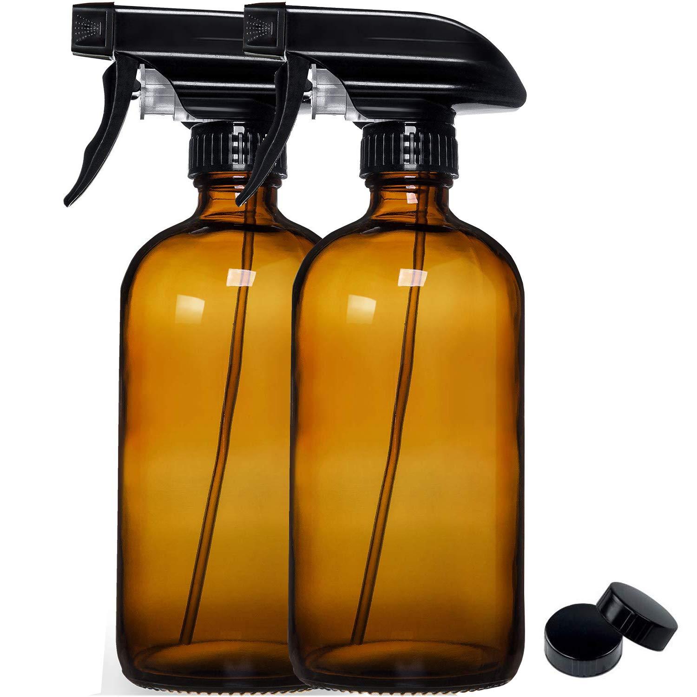 Glass Spray Bottles Amber Spray Bottle for Cleaning [Food Grade]16 oz Alcohol Spray Bottle [ 2 PACK]