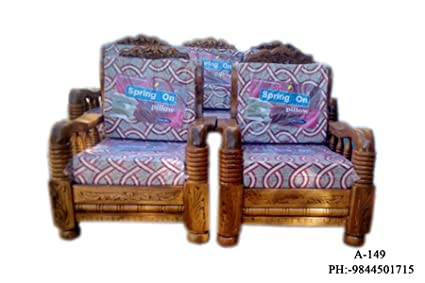 A Wooden Sofa Set 3 1 1 Amazon In Home Kitchen