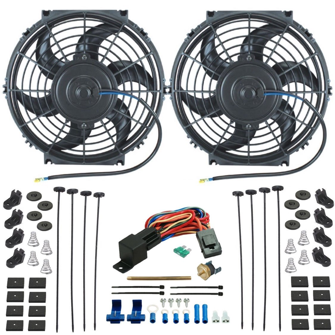 """American Volt Twin 10"""" Inch Electric Radiator Cooling Fans Push-in Fin Probe Thermostat Switch"""