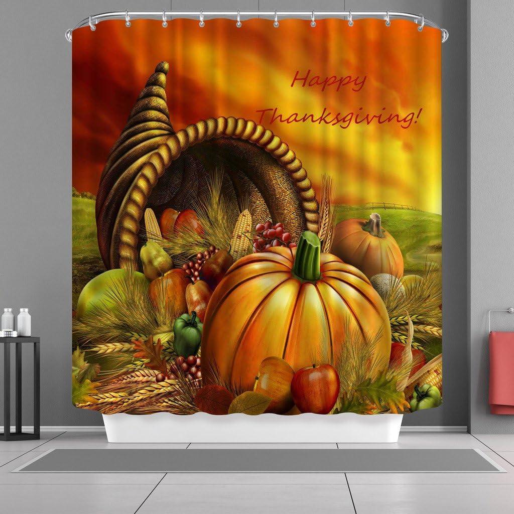VANCAR Waterproof Bathroom Decor Custom Holiday Thanksgiving Day Pumpkin Food Shower Curtain Sets with Hooks 66