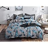 Starstorm_6 Pieces King Size Fitted Bed Sheet Set_Big Leaf Design (Click above on Starstorm for more designs)
