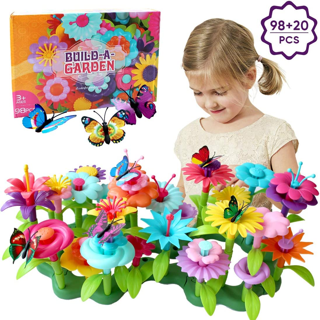Hiwu 98 PCS Flower Garden Building Toys Build A Garden Toy for Girls Toddlers Age 3 4 5 6 7 Year Old, Including 20 PCS Simulation Butterflies